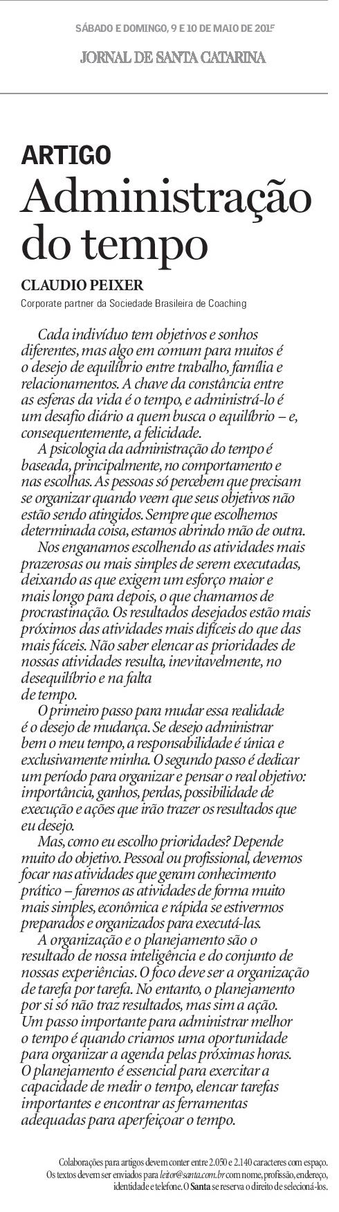 Administração do Tempo - Claudio Peixer