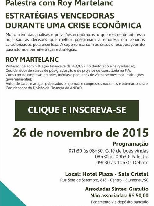 SBA Associados e Sintex promovem palestra sobre perspectivas econômicas