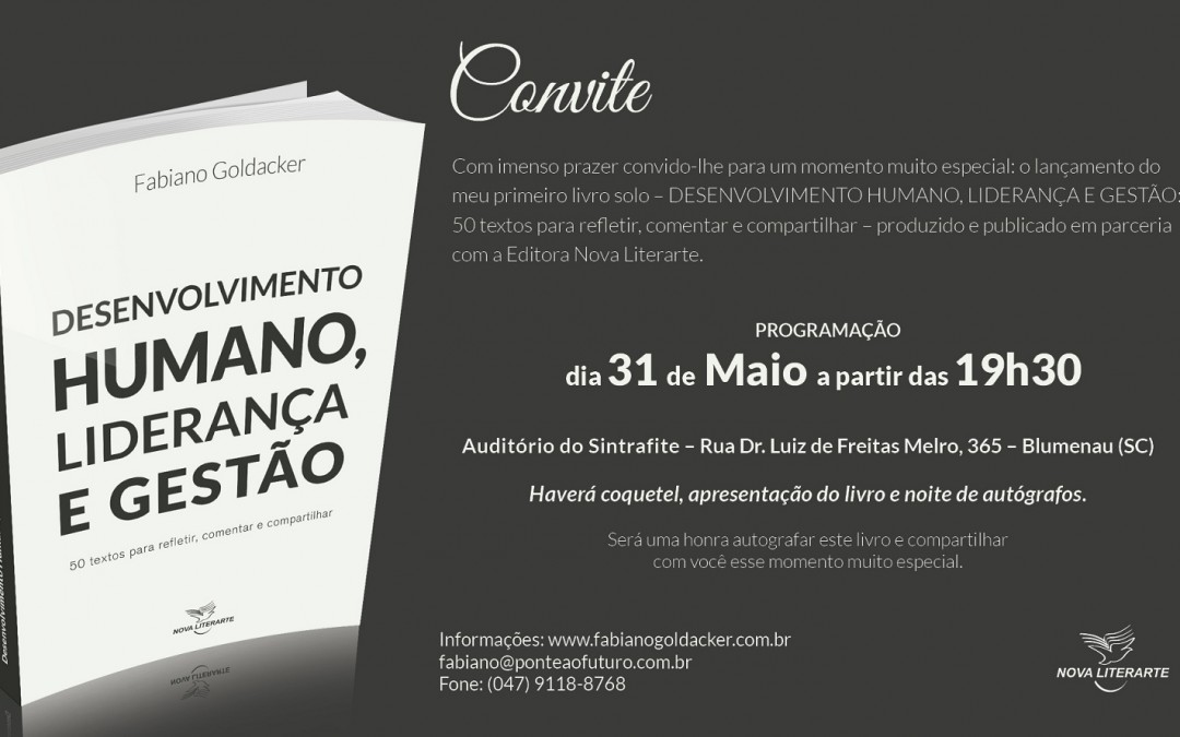 Autor blumenauense lança livro sobre desenvolvimento humano, liderança e gestão