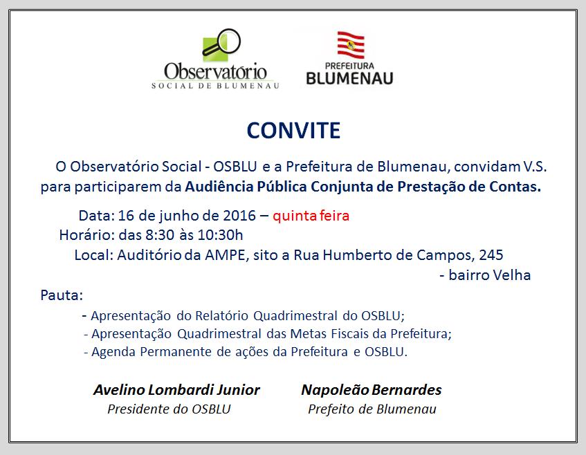 Osblu e Prefeitura Municipal promovem audiência pública para prestação de contas