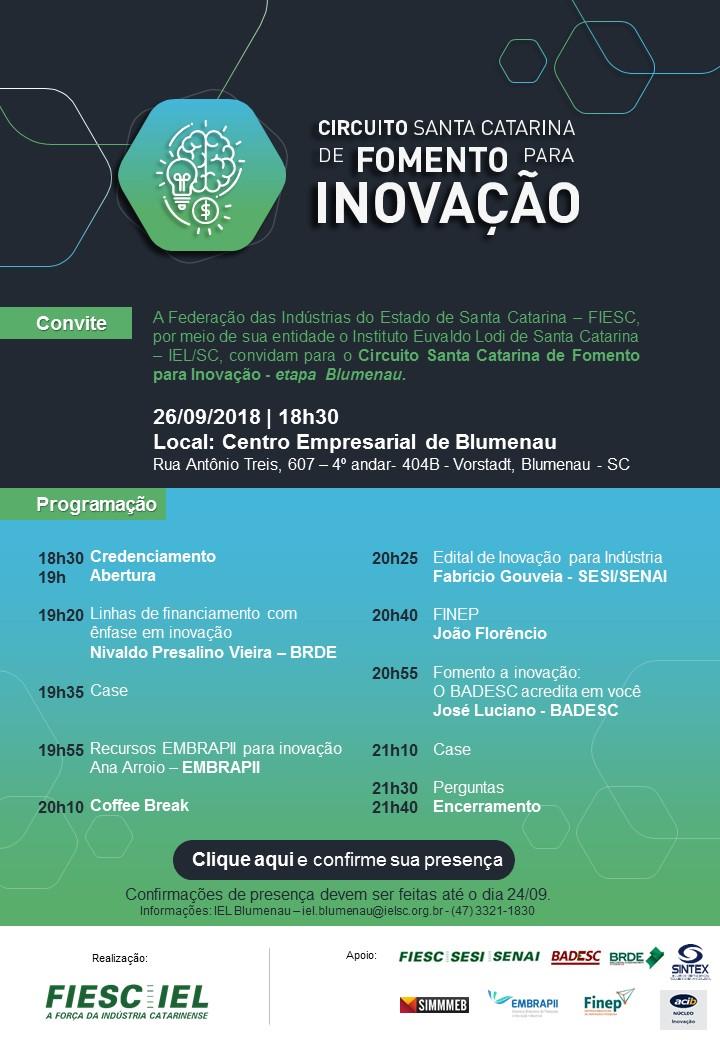 Circuito Santa Catarinade fomento para inovação