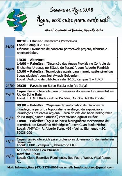 Itajaí recebe programação na Semana da Água 2018